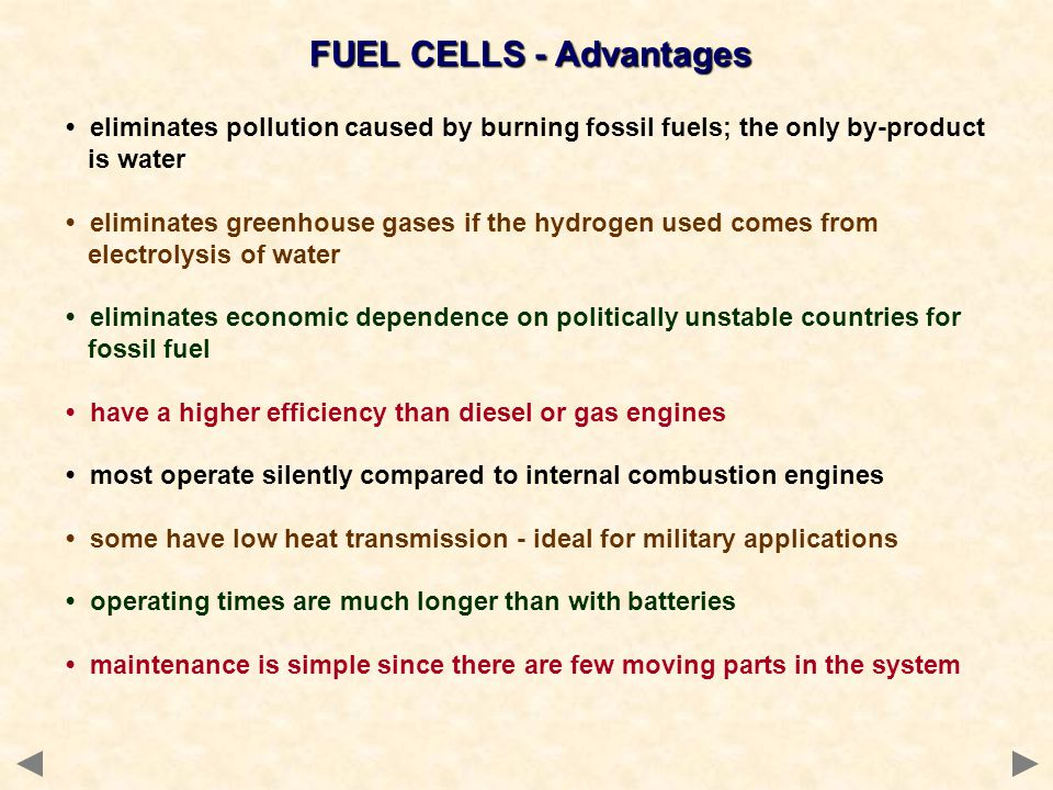 FUEL CELLS - Advantages