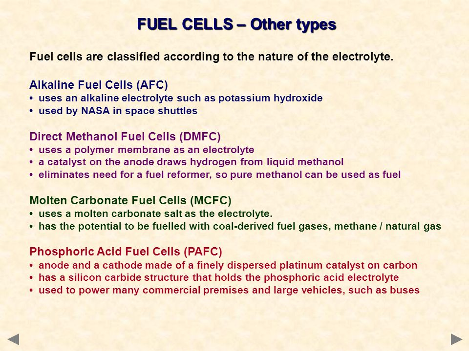 FUEL CELLS – Other types