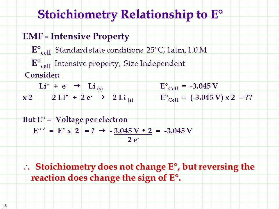 Stoichiometry Relationship to E°
