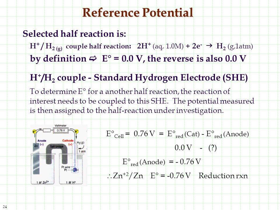Reference Potential Selected half reaction is: