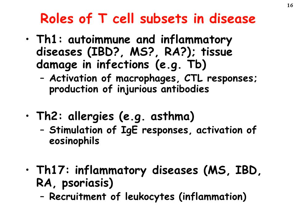 Roles of T cell subsets in disease