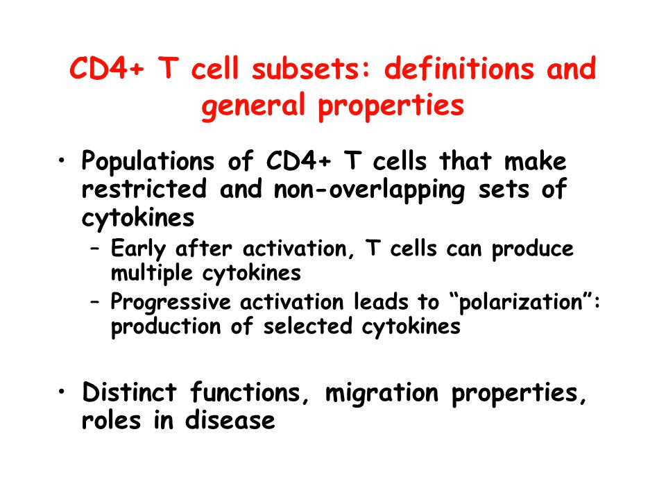 CD4+ T cell subsets: definitions and general properties