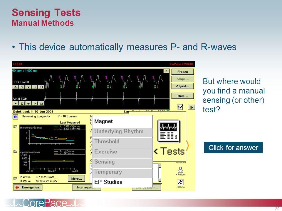 Sensing Tests Manual Methods