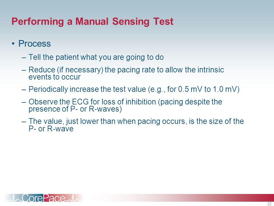 Performing a Manual Sensing Test