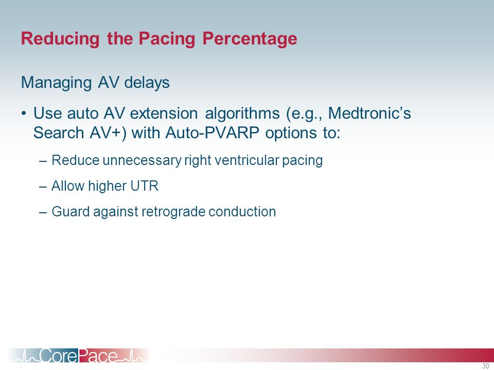 Reducing the Pacing Percentage