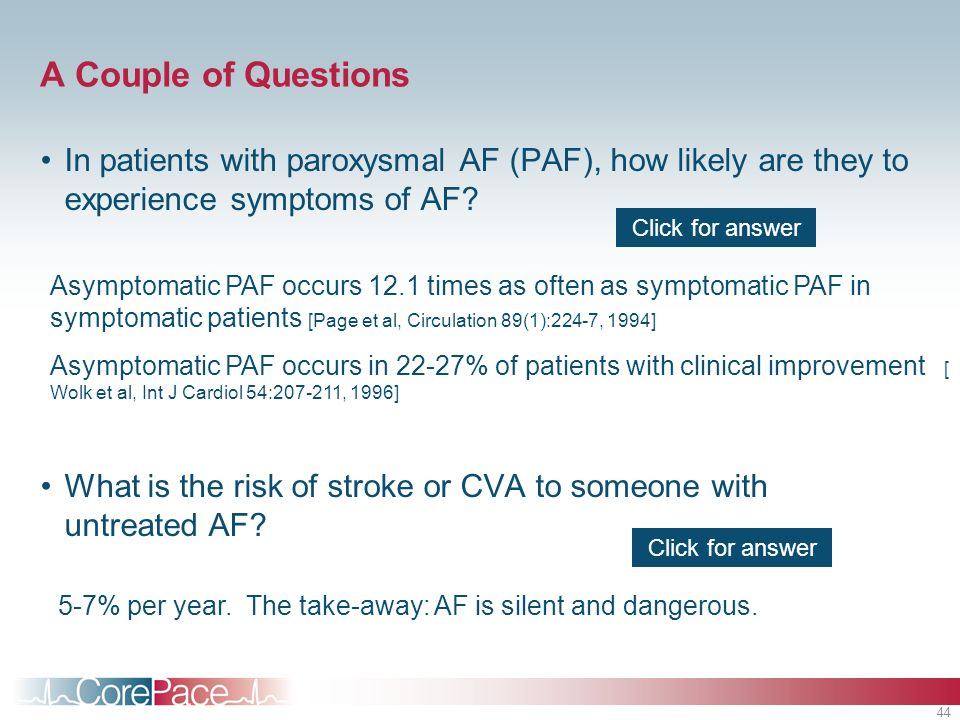 A Couple of Questions In patients with paroxysmal AF (PAF), how likely are they to experience symptoms of AF