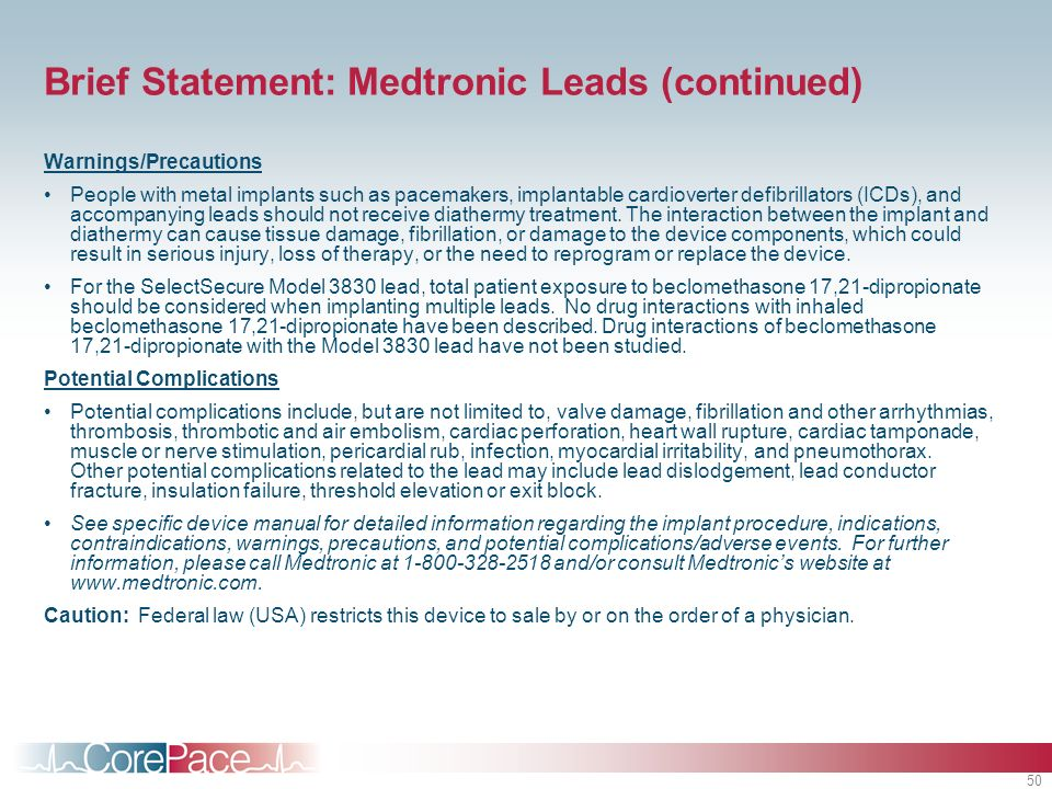 Brief Statement: Medtronic Leads (continued)