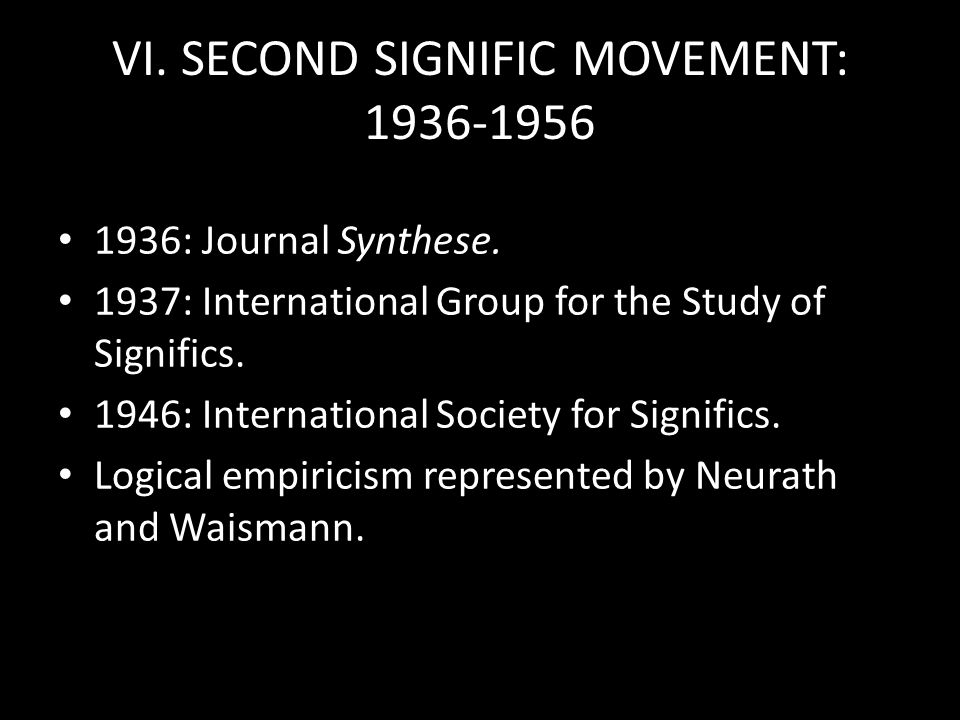 VI. SECOND SIGNIFIC MOVEMENT: