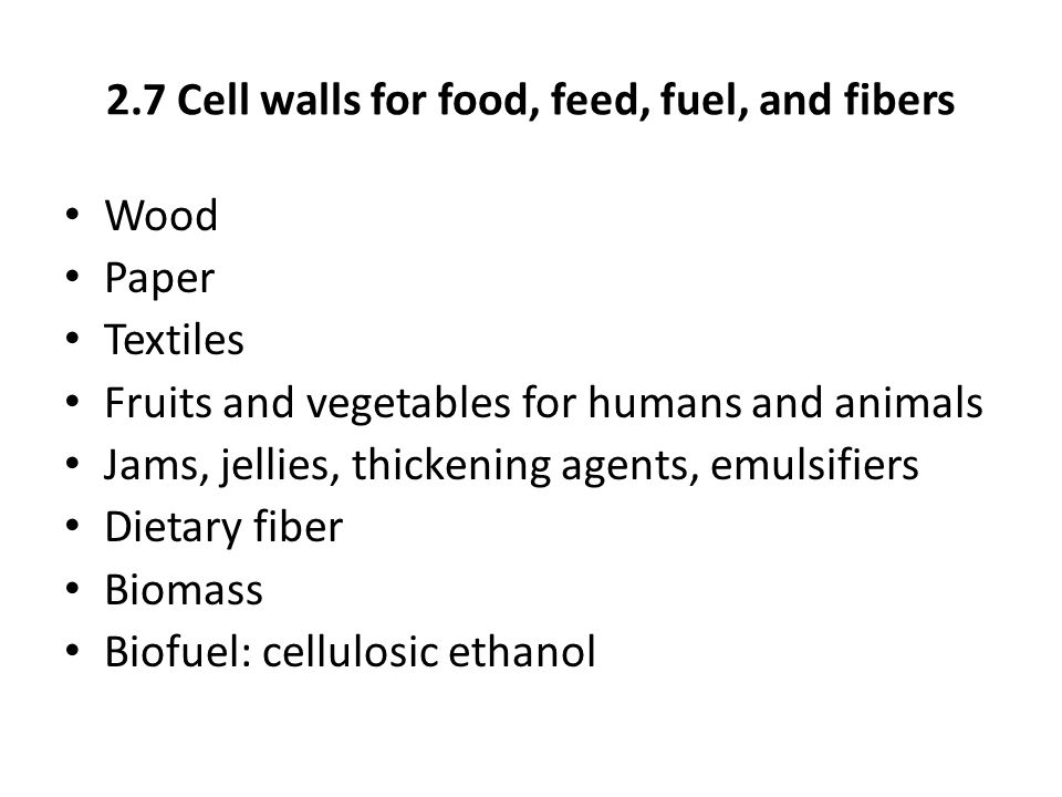2.7 Cell walls for food, feed, fuel, and fibers