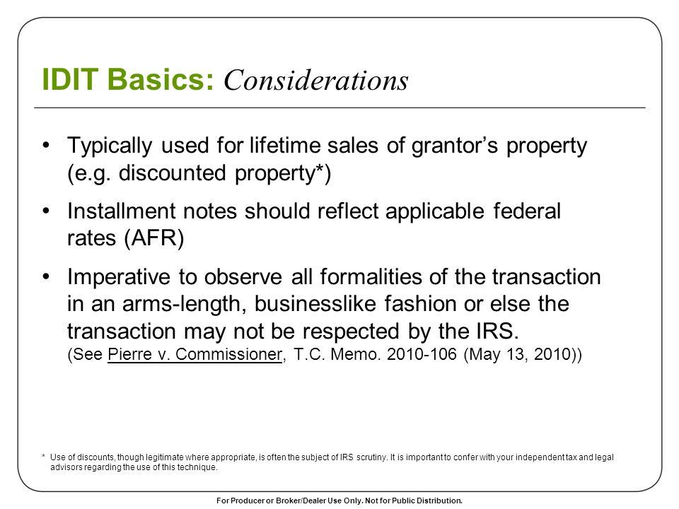 IDIT Basics: Considerations