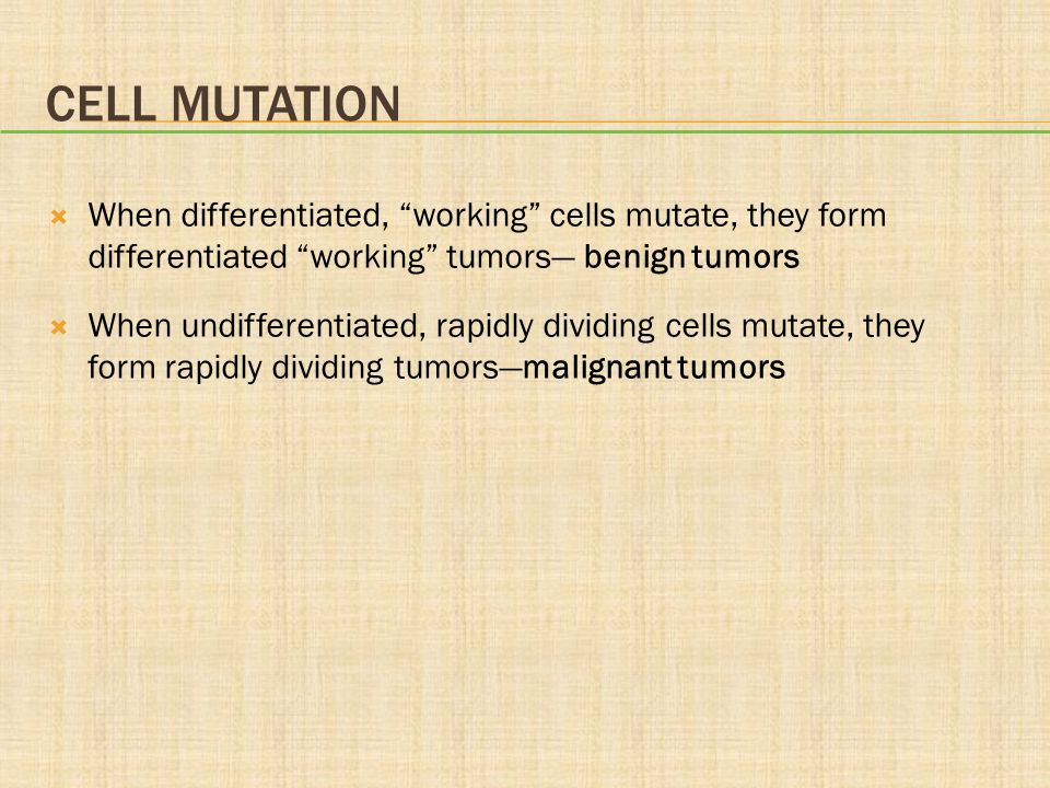 Cell Mutation When differentiated, working cells mutate, they form differentiated working tumors— benign tumors.