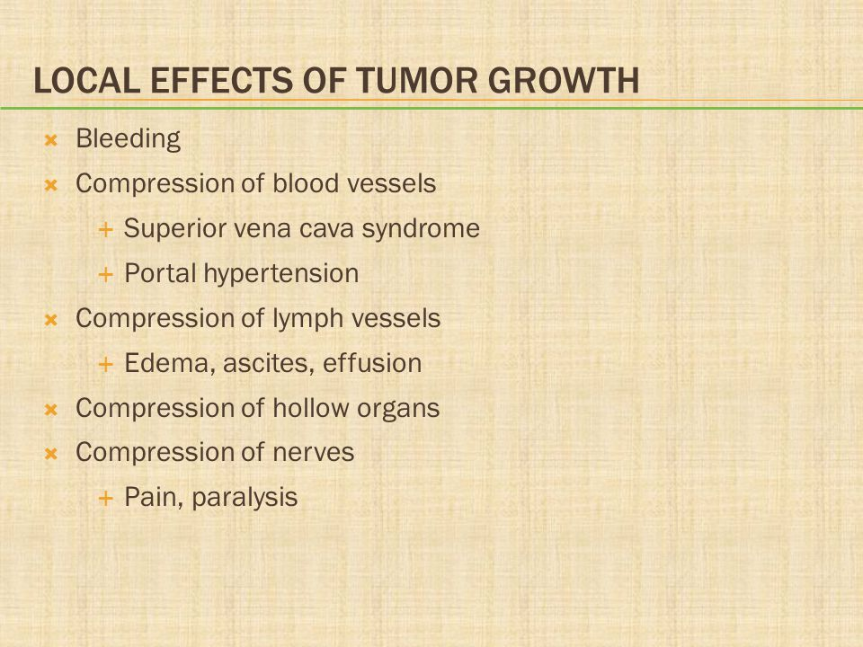 Local Effects of Tumor Growth