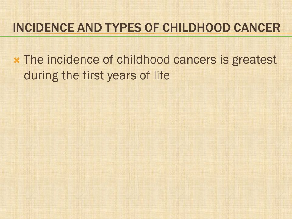 Incidence and Types of Childhood Cancer