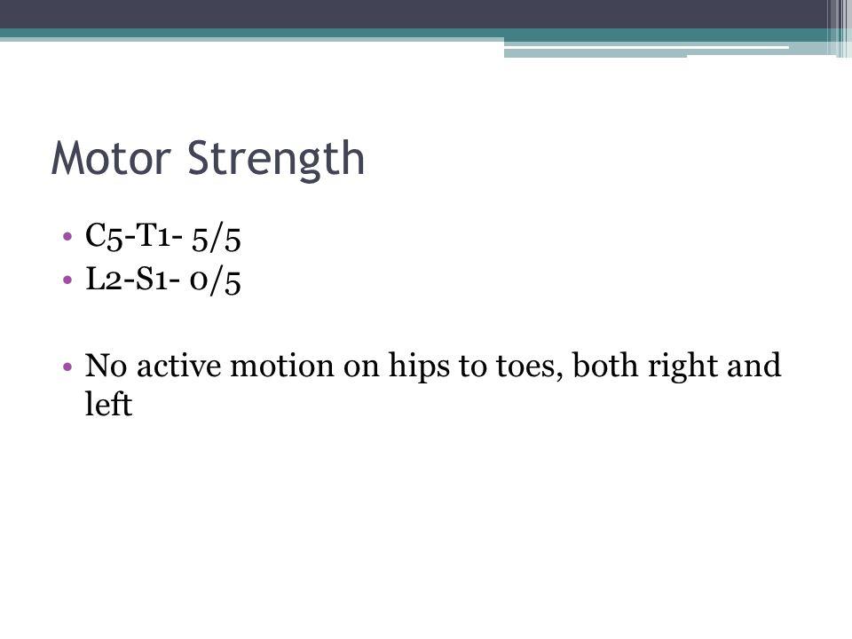 Motor Strength C5-T1- 5/5 L2-S1- 0/5