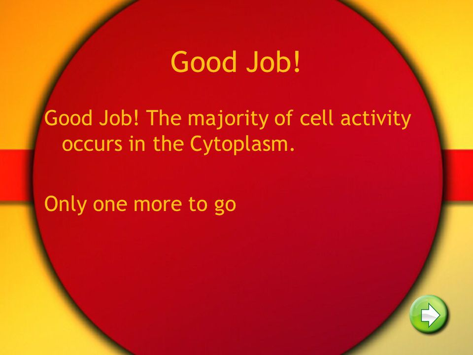 Good Job! Good Job! The majority of cell activity occurs in the Cytoplasm. Only one more to go