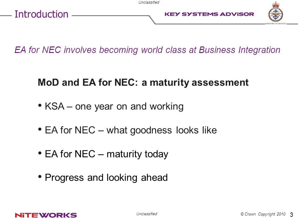 MoD and EA for NEC: a maturity assessment