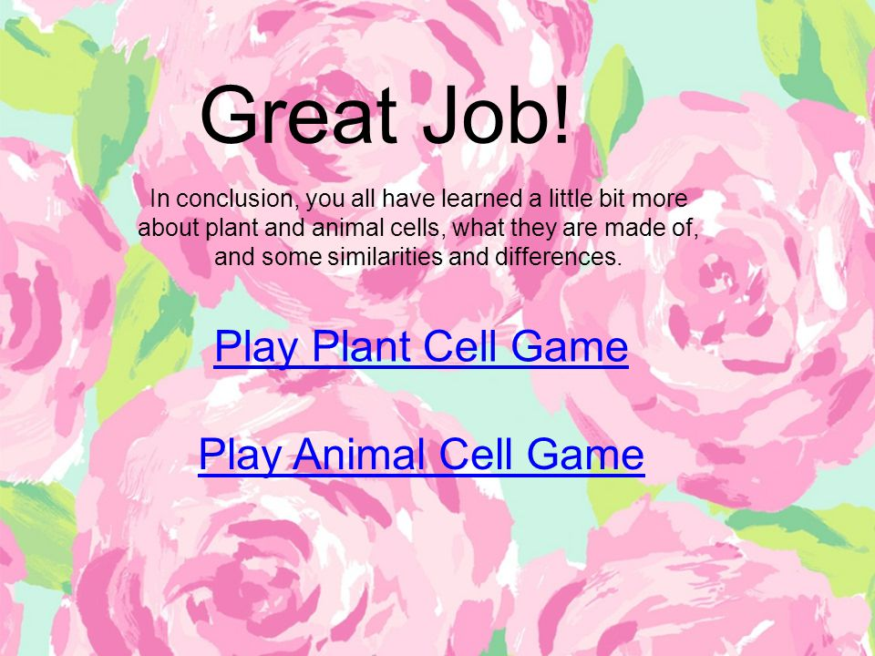 Great Job! Play Plant Cell Game Play Animal Cell Game