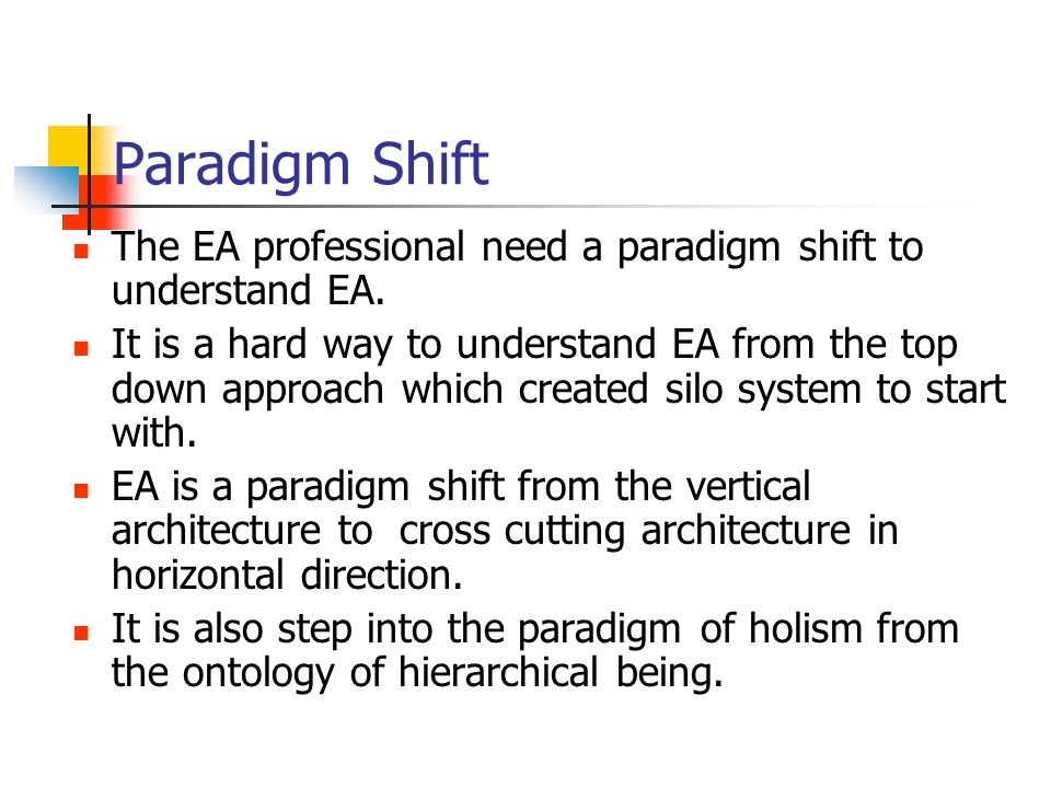 Paradigm Shift The EA professional need a paradigm shift to understand EA.