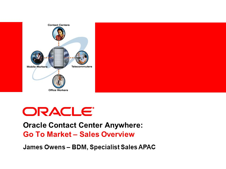 Oracle Contact Center Anywhere: Go To Market – Sales Overview