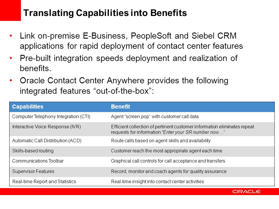 Translating Capabilities into Benefits