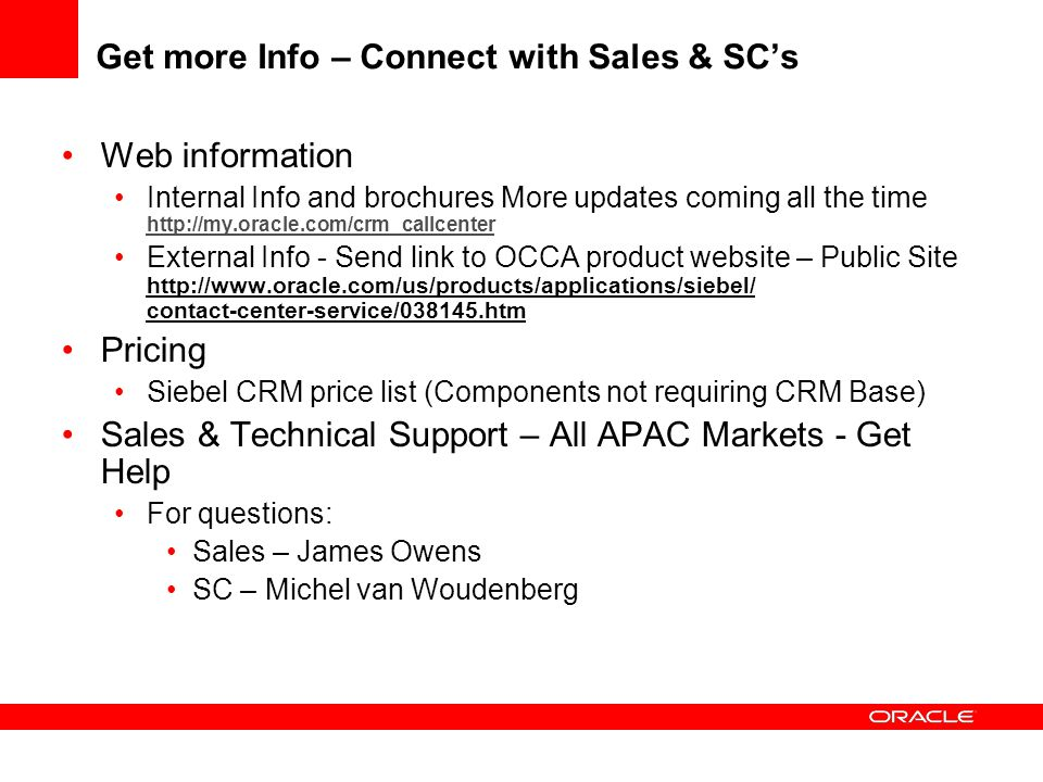 Get more Info – Connect with Sales & SC's