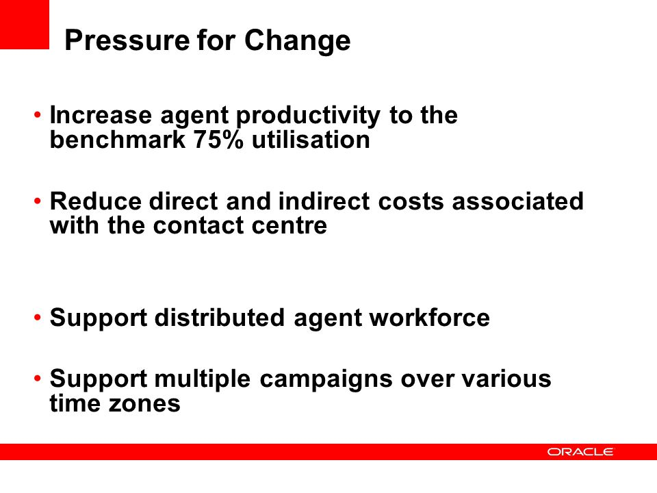 Pressure for Change Increase agent productivity to the benchmark 75% utilisation.