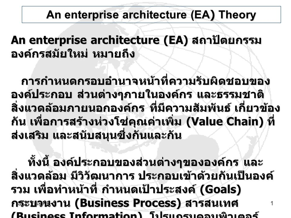 An enterprise architecture (EA) Theory
