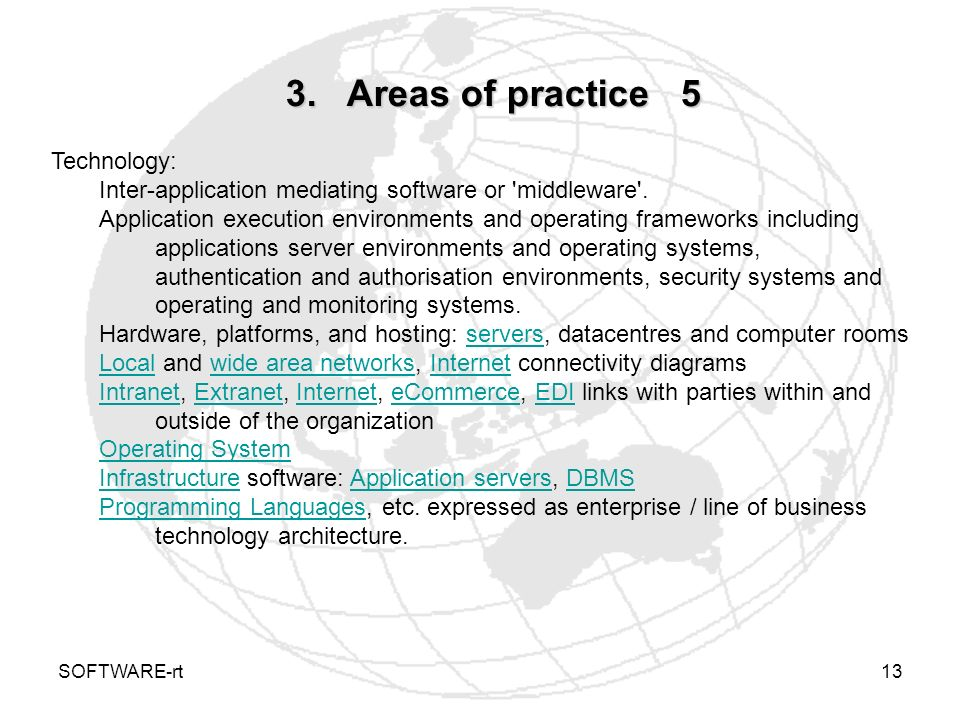 3. Areas of practice 5 Technology: