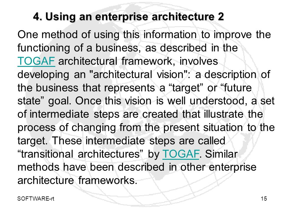 4. Using an enterprise architecture 2