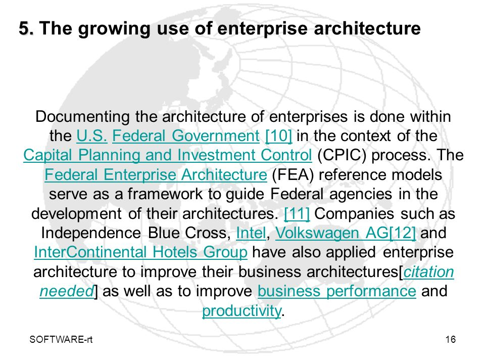 5. The growing use of enterprise architecture