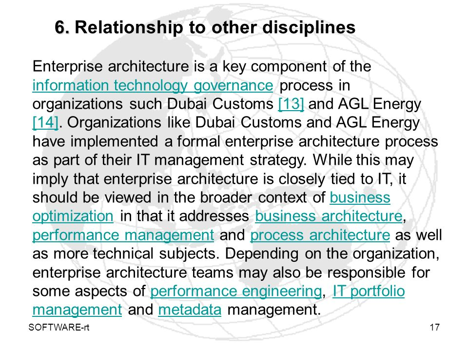 6. Relationship to other disciplines
