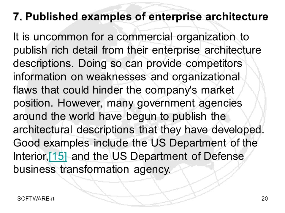 7. Published examples of enterprise architecture