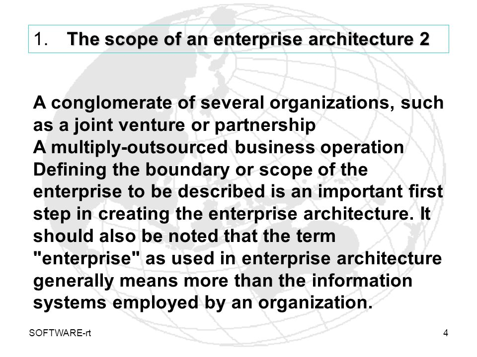 The scope of an enterprise architecture 2