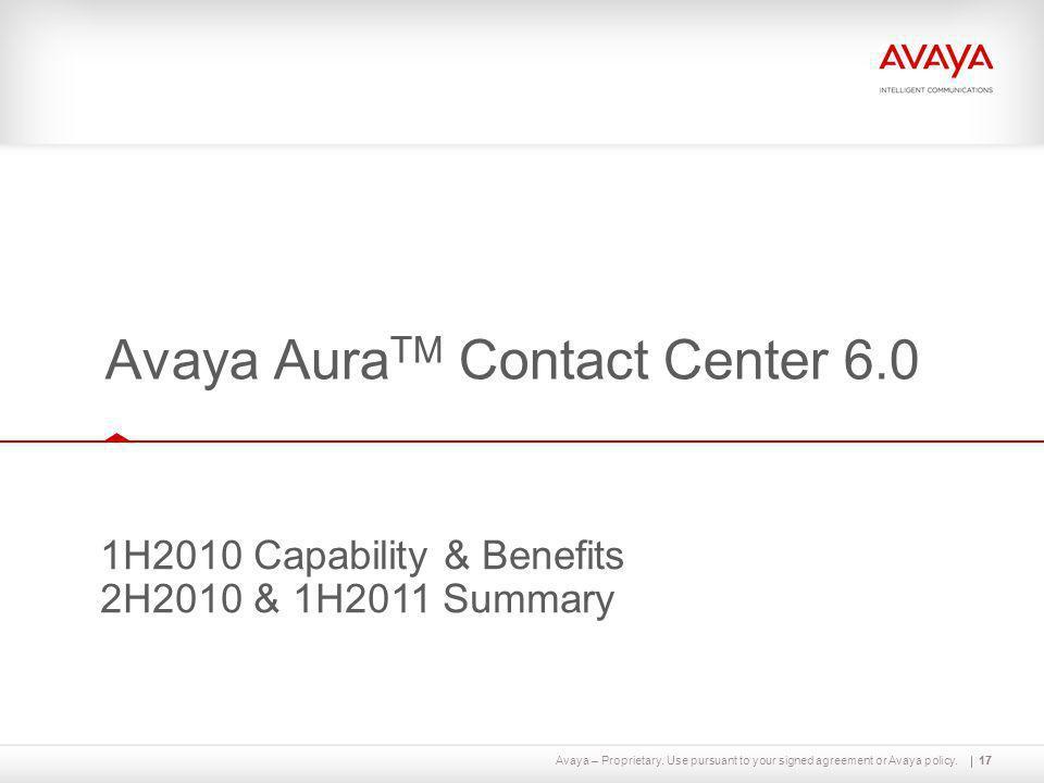 Avaya AuraTM Contact Center 6.0