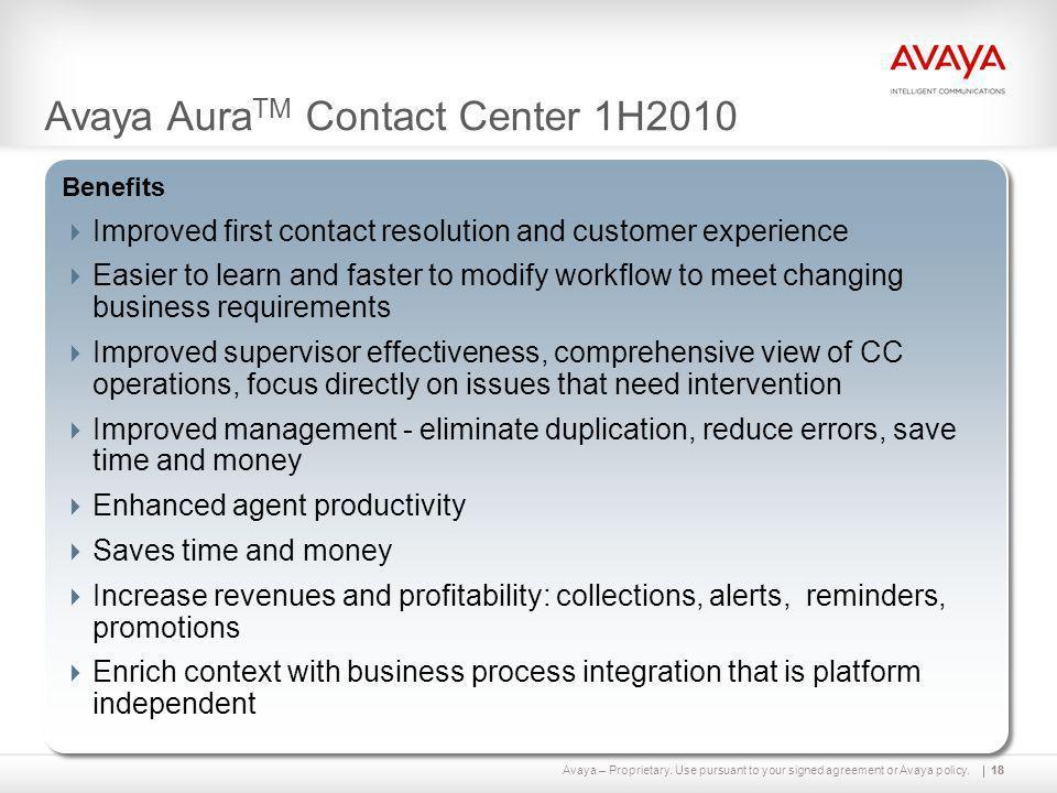 Avaya AuraTM Contact Center 1H2010