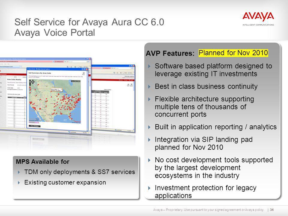Self Service for Avaya Aura CC 6.0 Avaya Voice Portal