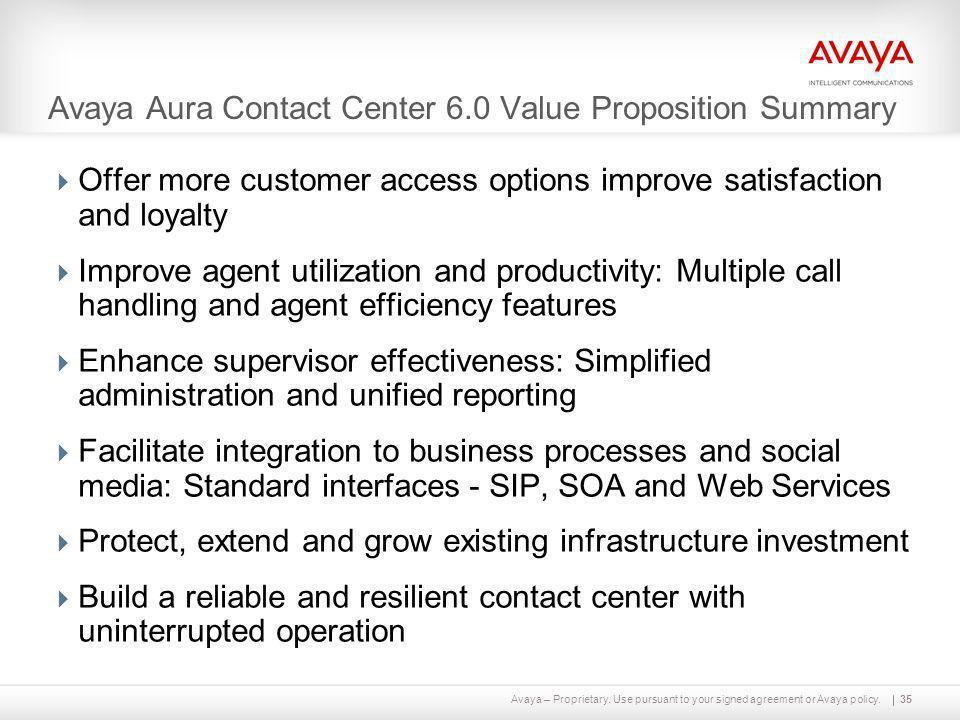 Avaya Aura Contact Center 6.0 Value Proposition Summary