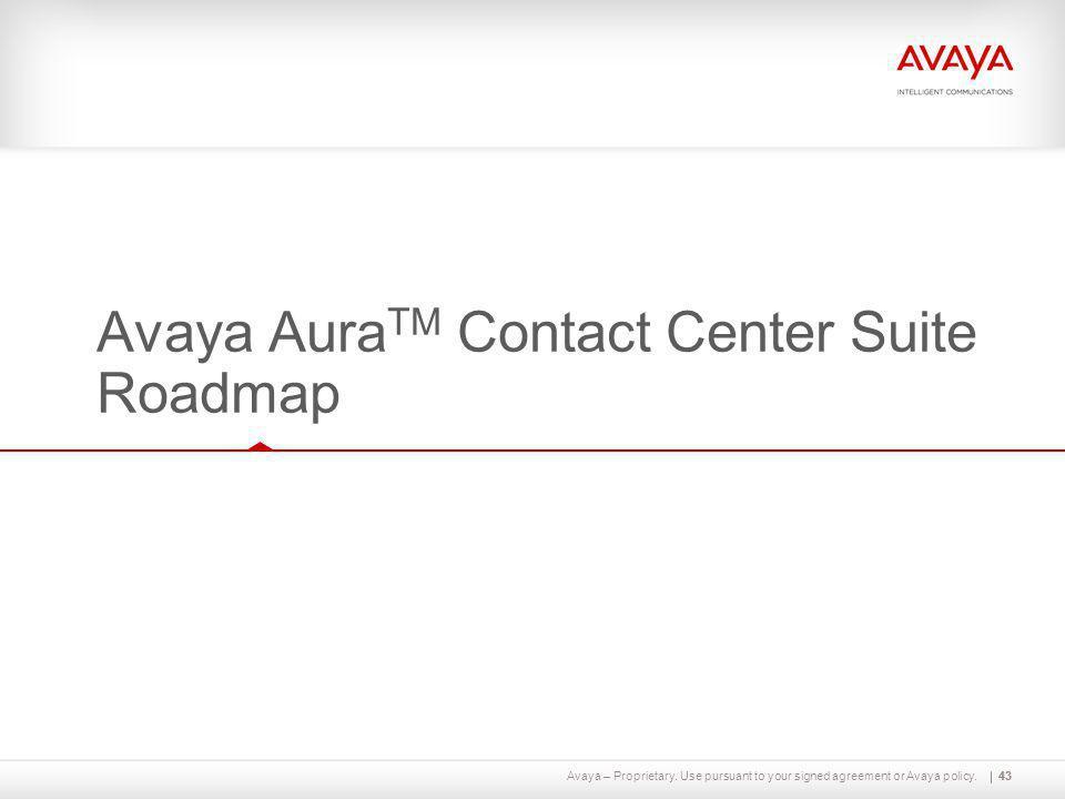 Avaya AuraTM Contact Center Suite Roadmap