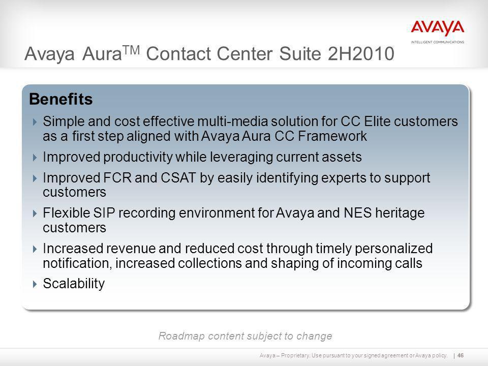 Avaya AuraTM Contact Center Suite 2H2010