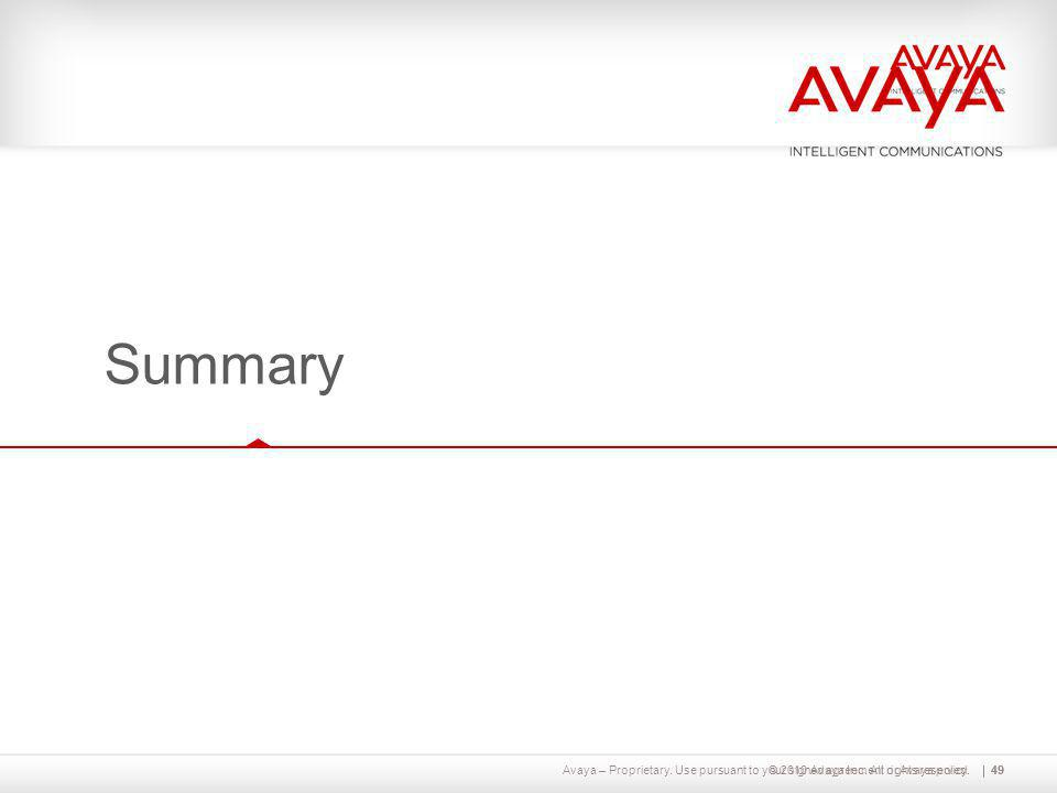 Summary Let's finish with a brief summary of what we've talked about today. © 2010 Avaya Inc. All rights reserved.