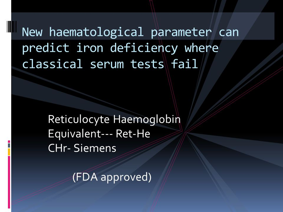 New haematological parameter can predict iron deficiency where classical serum tests fail
