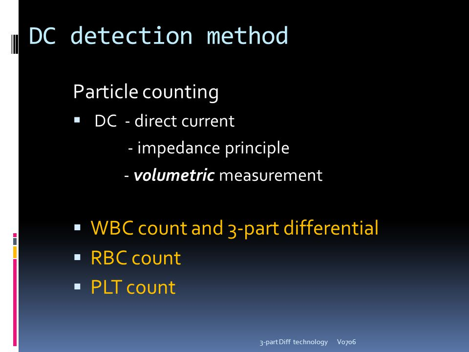 DC detection method Particle counting