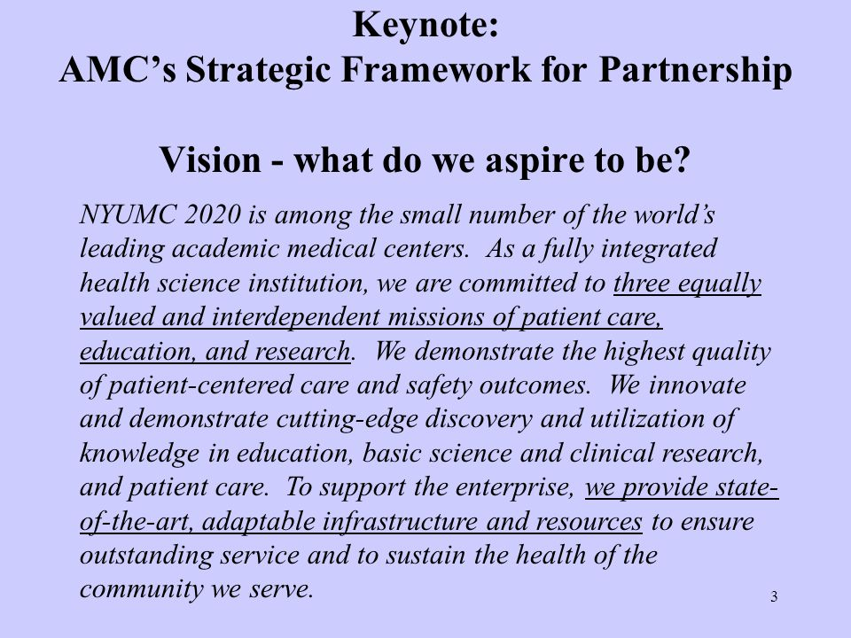 Keynote: AMC's Strategic Framework for Partnership Vision - what do we aspire to be