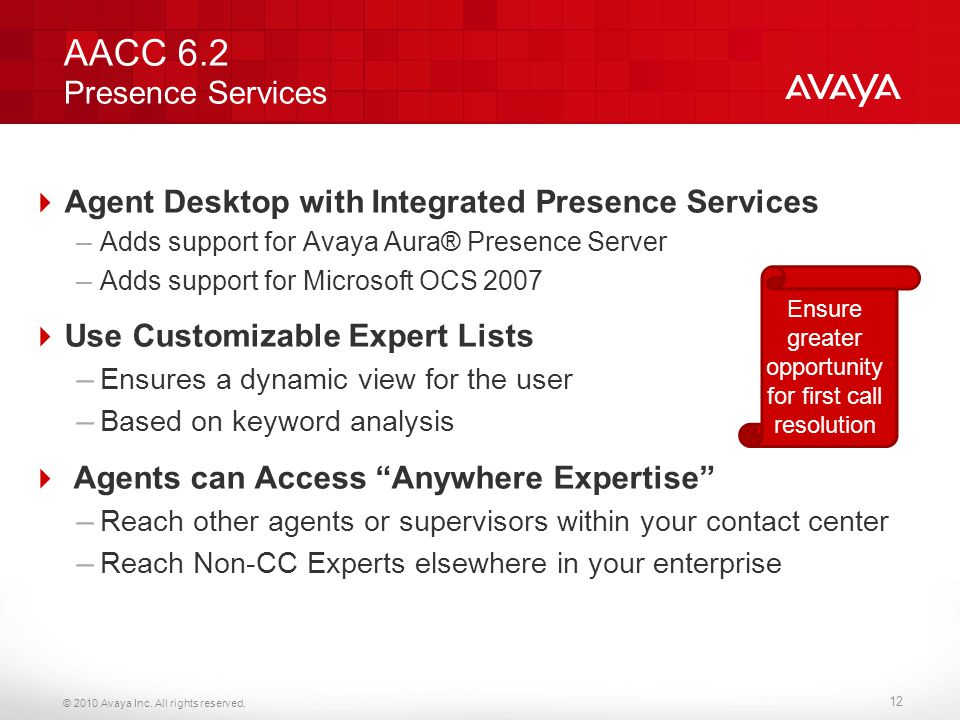 AACC 6.2 Presence Services