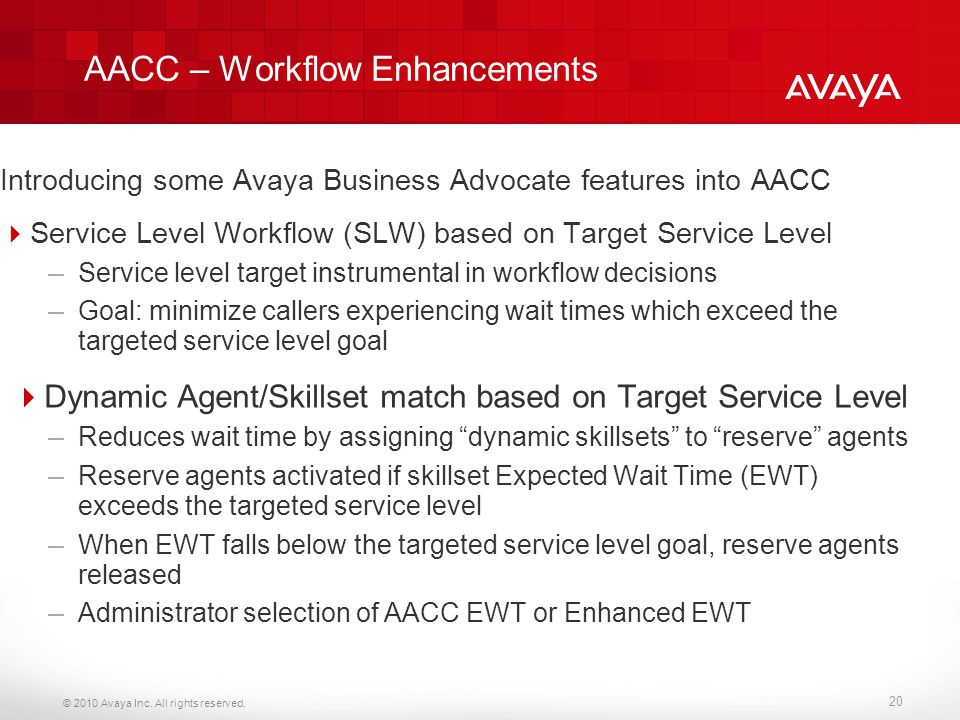 AACC – Workflow Enhancements