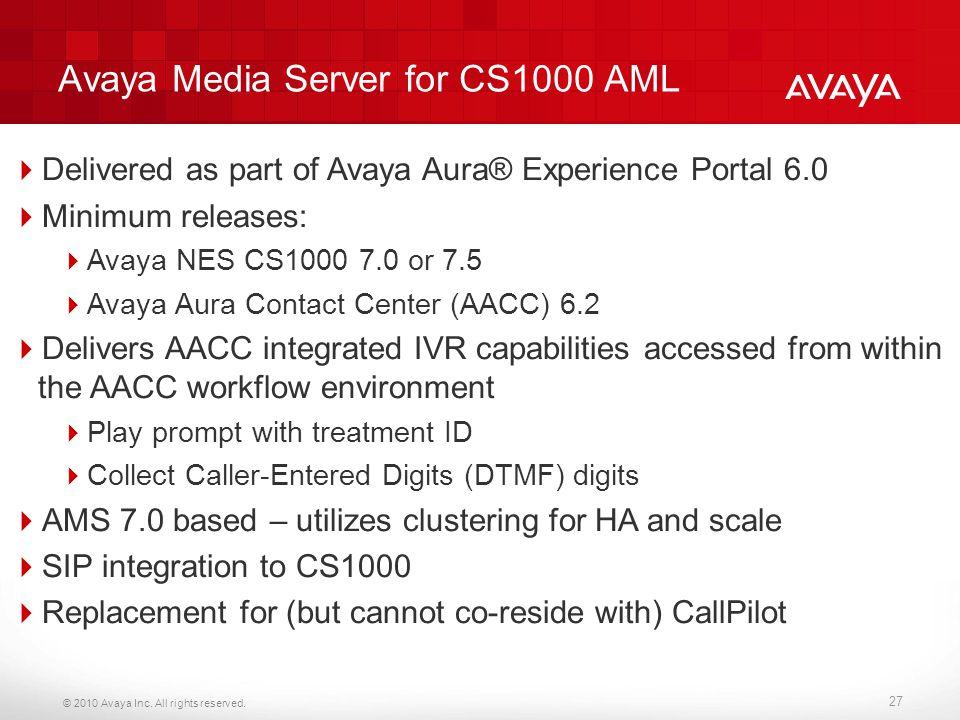 Avaya Media Server for CS1000 AML