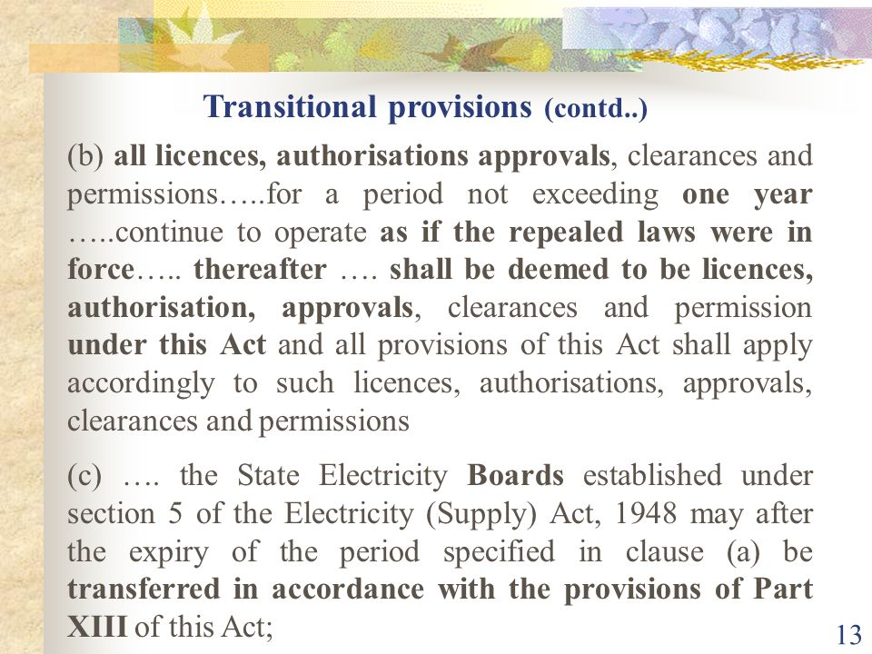 Transitional provisions (contd..)