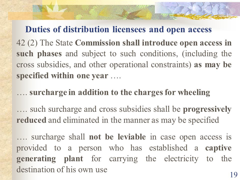 Duties of distribution licensees and open access