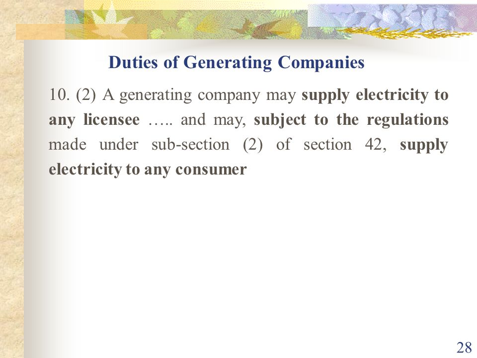 Duties of Generating Companies