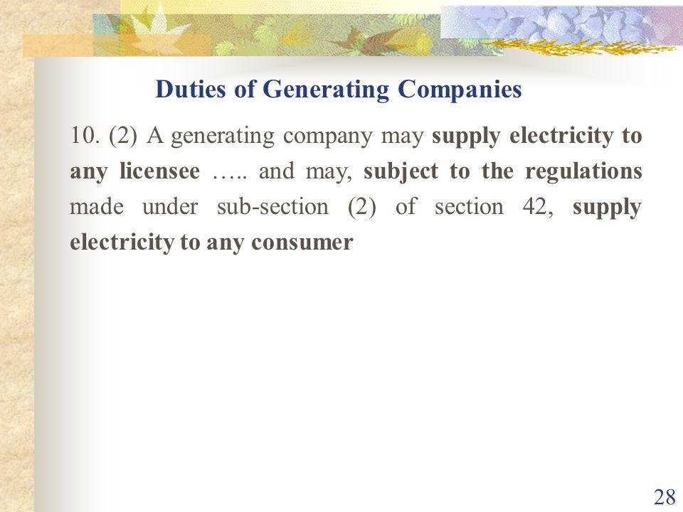 Duties of Generating Companies